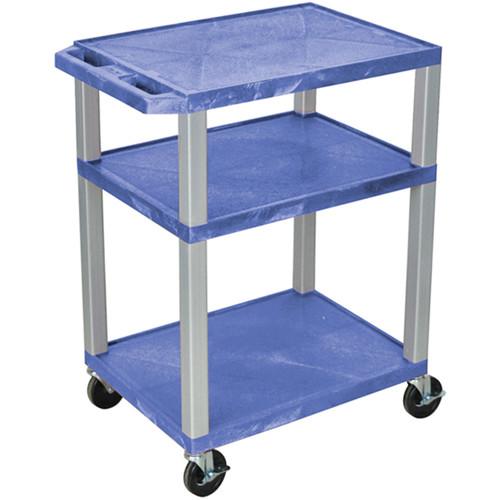 "Luxor 34"" A/V Cart with 3 Shelves (Blue Shelves, Nickel-Colored Legs)"