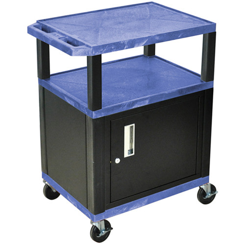 "Luxor 34"" A/V Cart with 2 Shelves and Cabinet (Blue Shelves, Black Legs)"