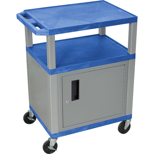 """Luxor 34"""" A/V Cart with 3 Shelves, 3-Outlet Electrical Assembly and Cabinet (Blue Shelves, Nickel-Colored Legs and Cabinet)"""