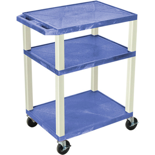 """Luxor 34"""" Tuffy Open Shelf A/V Cart with 3 Shelvesand 3-Outlet Electrical Assembly (Blue Shelves, Putty Legs)"""