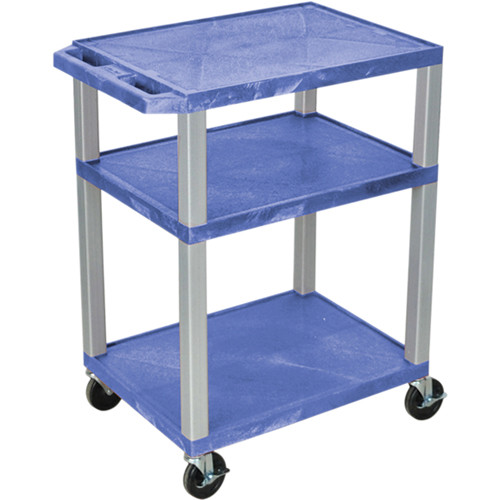 "Luxor 34"" A/V Cart with 3 Shelves, 3-Outlet Electrical Assembly (Blue Shelves, Nickel-Colored Legs)"