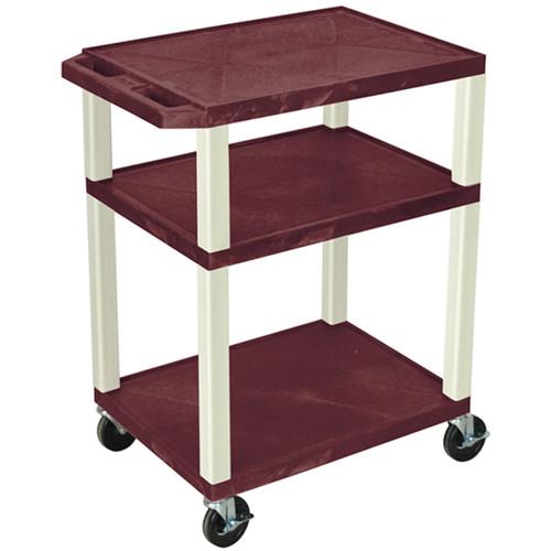 "Luxor 34"" Tuffy Open Shelf A/V Cart with 3 Shelves (Burgundy Shelves, Putty Legs)"