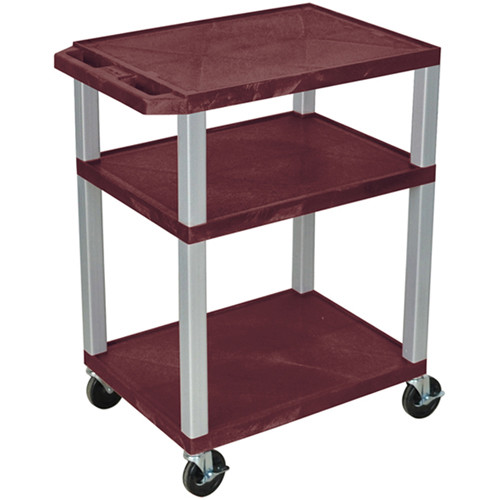 "Luxor 34"" A/V Cart with 3 Shelves (Burgundy Shelves, Nickel-Colored Legs)"