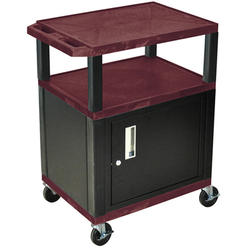 "Luxor 34"" A/V Cart with 2 Shelves and Cabinet (Burgundy Shelves, Black Legs)"