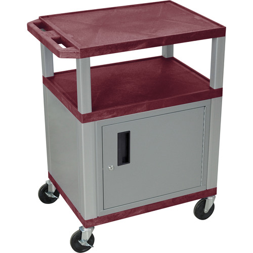 "Luxor 34"" A/V Cart with 3 Shelves, 3-Outlet Electrical Assembly and Cabinet (Burgundy Shelves, Nickel-Colored Legs and Cabinet)"
