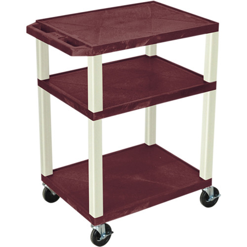 "Luxor 34"" Tuffy Open Shelf A/V Cart with 3 Shelves and 3-Outlet Electrical Assembly (Burgundy Shelves, Putty Legs)"