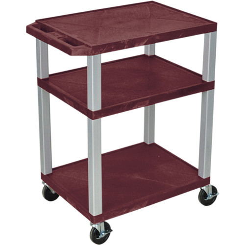 "Luxor 34"" A/V Cart with 3 Shelves, 3-Outlet Electrical Assembly (Burgundy Shelves, Nickel-Colored Legs)"