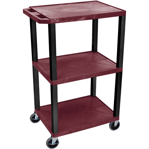 "Luxor 34"" A/V Cart with 3 Evenly-Spaced Shelves (Burgundy Shelves, Black Legs)"