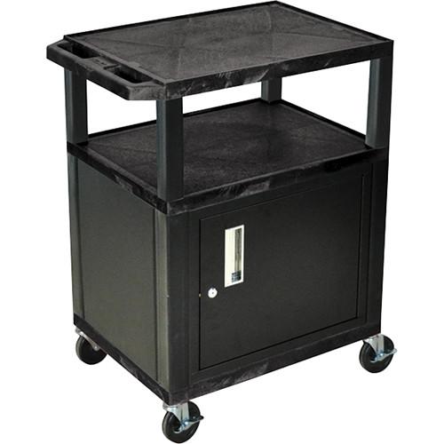 "Luxor 34"" A/V Cart with 2 Shelves and Cabinet (Black Shelves, Black Legs)"