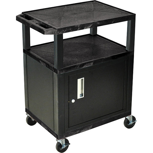 "Luxor 34"" A/V Cart with 2 Shelves and Cabinet (Black Shelves, Black Legs)"