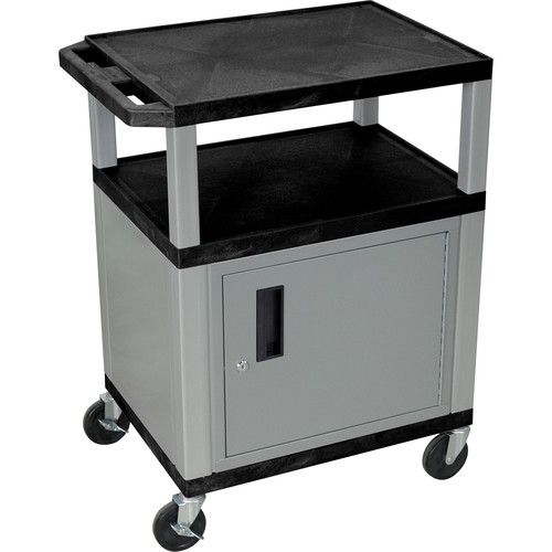 """Luxor 34"""" A/V Cart with 3 Shelves, 3-Outlet Electrical Assembly and Cabinet (Black Shelves, Nickel-Colored Legs and Cabinet)"""