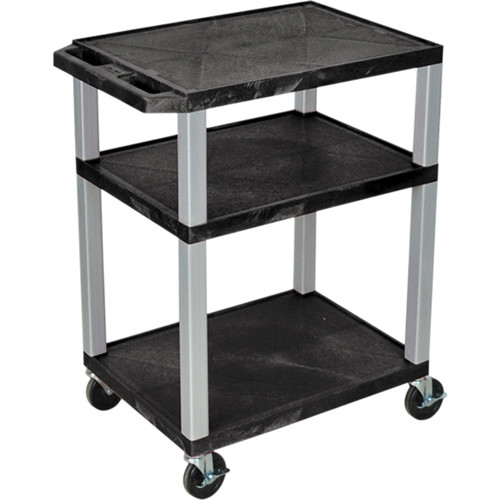 "Luxor 34"" A/V Cart with 3 Shelves, 3-Outlet Electrical Assembly (Black Shelves, Nickel-Colored Legs)"
