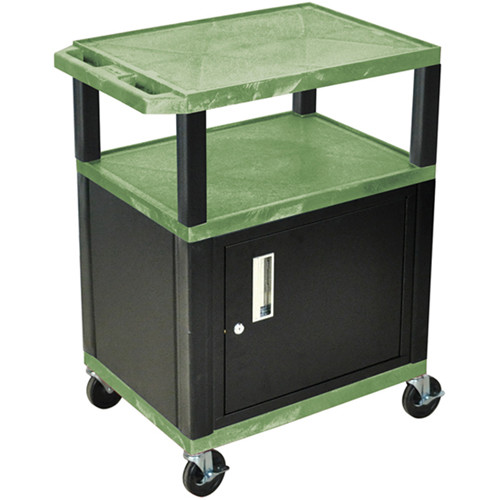 "Luxor 34"" A/V Cart with 2 Shelves and Cabinet (Green Shelves, Black Legs)"