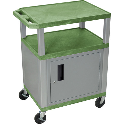 "Luxor 34"" A/V Cart with 3 Shelves, 3-Outlet Electrical Assembly and Cabinet (Green Shelves, Nickel-Colored Legs and Cabinet)"