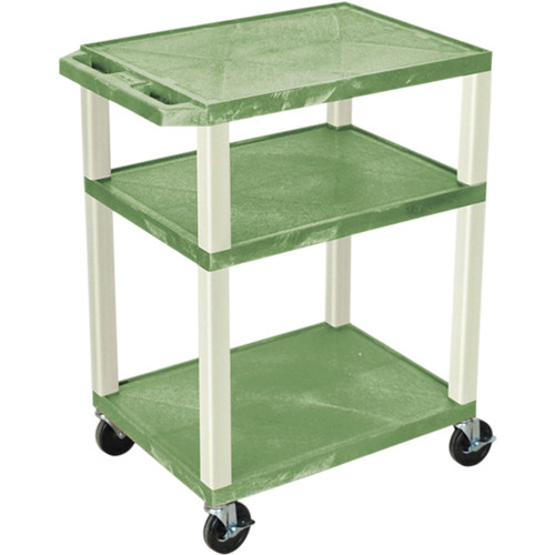 "Luxor 34"" Tuffy Open Shelf A/V Cart with 3 Shelves and 3-Outlet Electrical Assembly (Green Shelves, Putty Legs)"