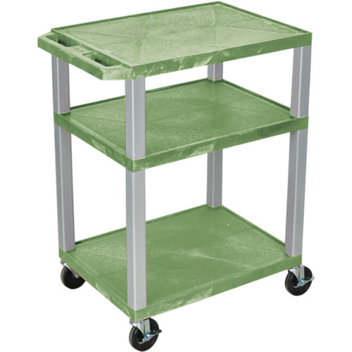 "Luxor 34"" A/V Cart with 3 Shelves, 3-Outlet Electrical Assembly (Green Shelves, Nickel-Colored Legs)"