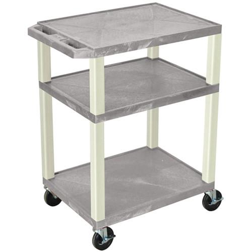 "Luxor 34"" Tuffy Open Shelf A/V Cart with 3 Shelves (Gray Shelves, Putty Legs)"