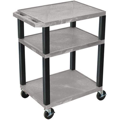 "Luxor 34"" A/V Cart with 3 Shelves (Gray Shelves, Black Legs)"