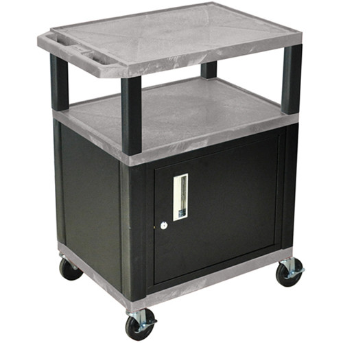 "Luxor 34"" A/V Cart with 2 Shelves and Cabinet (Gray Shelves, Black Legs)"