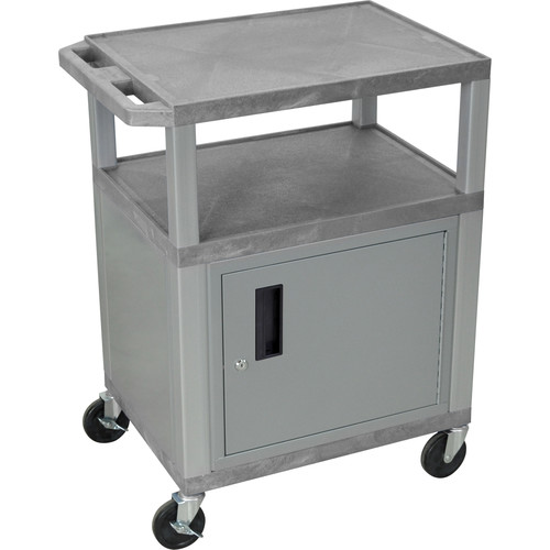 "Luxor 34"" A/V Cart with 3 Shelves, 3-Outlet Electrical Assembly and Cabinet (Gray Shelves, Nickel-Colored Legs and Cabinet)"
