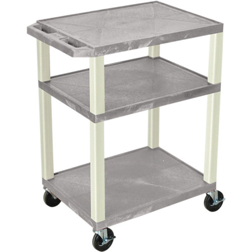 "Luxor 34"" Tuffy Open Shelf A/V Cart with 3 Shelves and 3-Outlet Electrical Assembly (Gray Shelves, Putty Legs)"