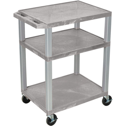"Luxor 34"" A/V Cart with 3 Shelves, 3-Outlet Electrical Assembly (Gray Shelves, Nickel-Colored Legs)"