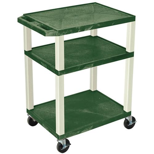 "Luxor 34"" Tuffy Open Shelf A/V Cart with 3 Shelves (Hunter Green Shelves, Putty Legs)"