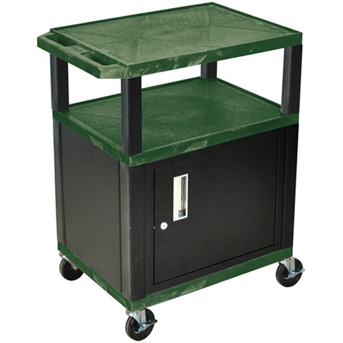 "Luxor 34"" A/V Cart with 2 Shelves and Cabinet (Hunter Green Shelves, Black Legs)"