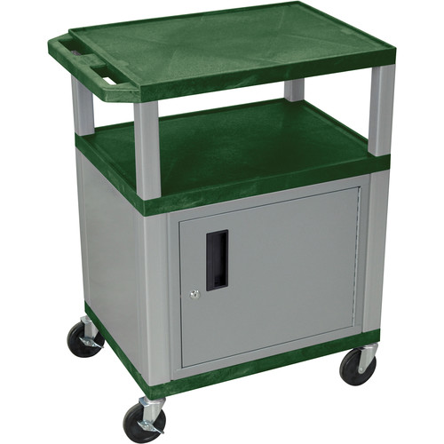 "Luxor 34"" A/V Cart with 3 Shelves and Cabinet (Hunter Green Shelves, Nickel-Colored Legs and Cabinet)"