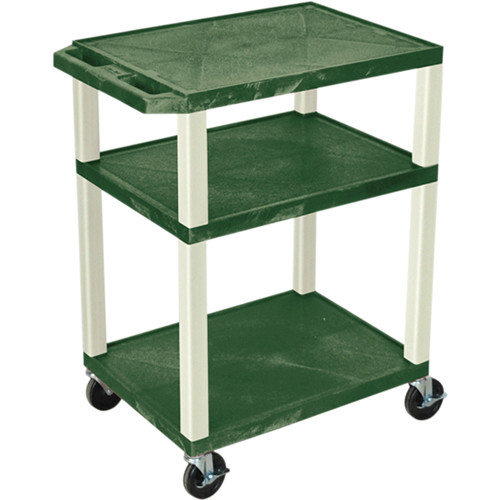"""Luxor 34"""" Tuffy Open Shelf A/V Cart with 3 Shelvesand 3-Outlet Electrical Assembly (Hunter Green Shelves, Putty Legs)"""