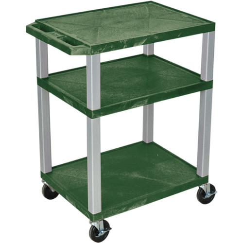 "Luxor 34"" A/V Cart with 3 Shelves, 3-Outlet Electrical Assembly (Hunter Green Shelves, Nickel-Colored Legs)"