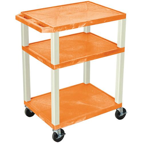 "Luxor 34"" Tuffy Open Shelf A/V Cart with 3 Shelves (Orange Shelves, Putty Legs)"