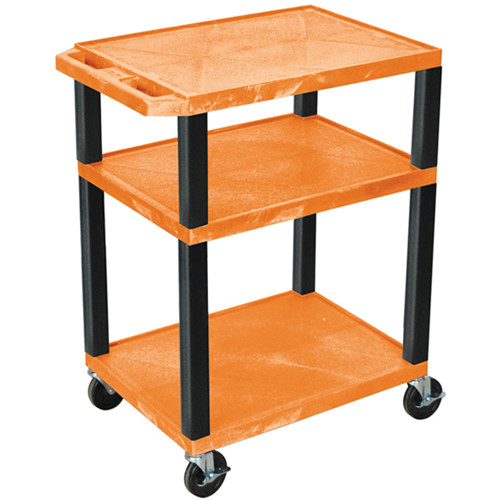 "Luxor 34"" A/V Cart with 3 Shelves (Orange Shelves, Black Legs)"