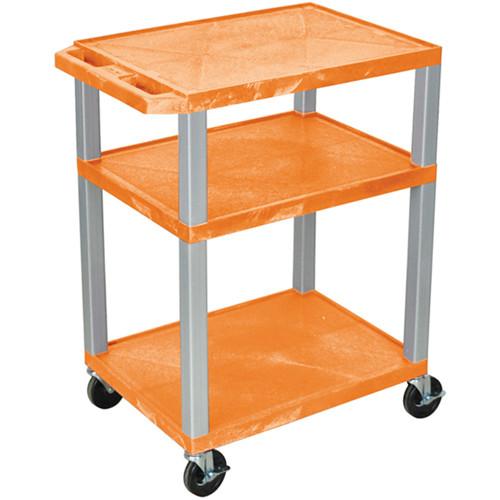 "Luxor 34"" A/V Cart with 3 Shelves (Orange Shelves, Nickel-Colored Legs)"