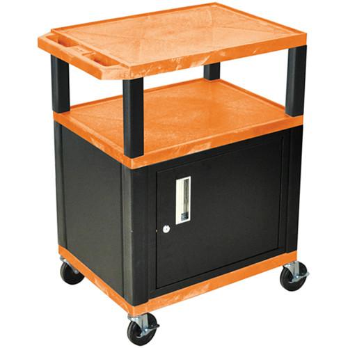 "Luxor 34"" A/V Cart with 2 Shelves and Cabinet (Orange Shelves, Black Legs)"