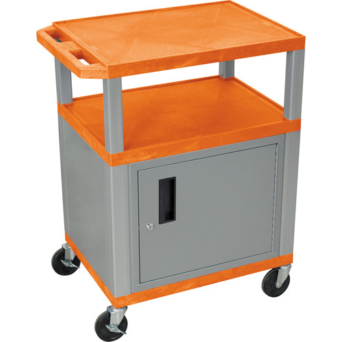 "Luxor 34"" A/V Cart with 3 Shelves, 3-Outlet Electrical Assembly and Cabinet (Orange Shelves, Nickel-Colored Legs and Cabinet)"