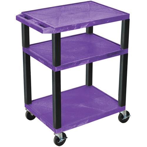 """Luxor 34"""" A/V Cart with 3 Shelves (Purple Shelves, Black Legs)"""