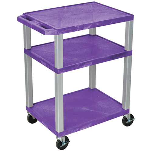 "Luxor 34"" A/V Cart with 3 Shelves (Purple Shelves, Nickel-Colored Legs)"