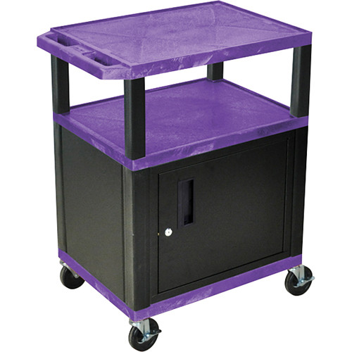 "Luxor 34"" A/V Cart with 2 Shelves and Cabinet (Purple Shelves, Black Legs)"