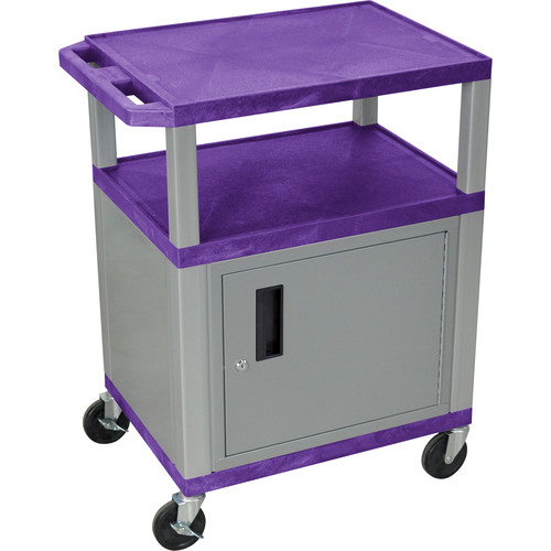 "Luxor 34"" A/V Cart with 3 Shelves, 3-Outlet Electrical Assembly and Cabinet (Purple Shelves, Nickel-Colored Legs and Cabinet)"