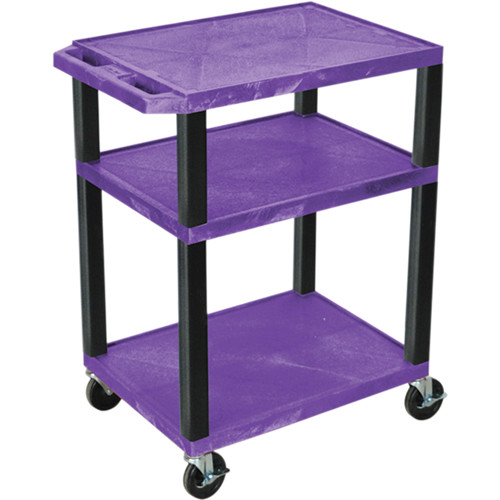 "Luxor 34"" A/V Cart with 3 Shelves and 3-Outlet Electrical Assembly (Purple Shelves, Black Legs)"