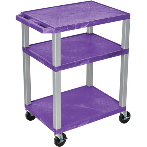 "Luxor 34"" A/V Cart with 3 Shelves, 3-Outlet Electrical Assembly (Purple Shelves, Nickel-Colored Legs)"