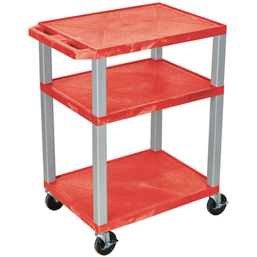 """Luxor 34"""" A/V Cart with 3 Shelves (Red Shelves, Nickel-Colored Legs)"""