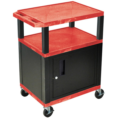 "Luxor 34"" A/V Cart with 2 Shelves and Cabinet (Red Shelves, Black Legs)"