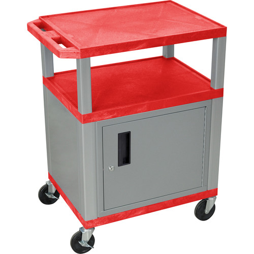 "Luxor 34"" A/V Cart with 3 Shelves, 3-Outlet Electrical Assembly and Cabinet (Red Shelves, Nickel-Colored Legs and Cabinet)"