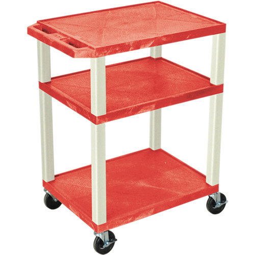 "Luxor 34"" Tuffy Open Shelf A/V Cart with 3 Shelves and 3-Outlet Electrical Assembly (Red Shelves, Putty Legs)"