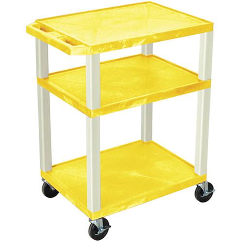 "Luxor 34"" Tuffy Open Shelf A/V Cart with 3 Shelves (Yellow Shelves, Putty Legs)"