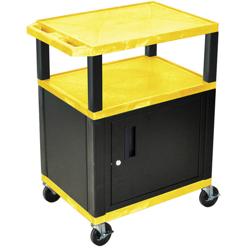 "Luxor 34"" A/V Cart with 2 Shelves and Cabinet (Yellow Shelves, Black Legs)"