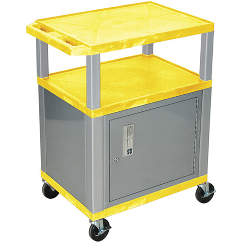 "Luxor 34"" A/V Cart with 3 Shelves, 3-Outlet Electrical Assembly and Cabinet (Yellow Shelves, Nickel-Colored Legs and Cabinet)"