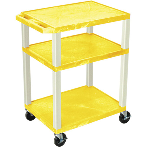"Luxor 34"" Tuffy Open Shelf A/V Cart with 3 Shelves and 3-Outlet Electrical Assembly (Yellow Shelves, Putty Legs)"